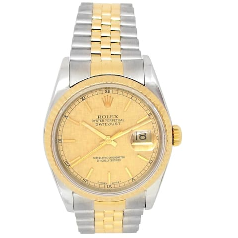 Pre-owned 36mm Rolex 18k Yellow Gold and Stainless Steel Datejust Watch - N/A - N/A