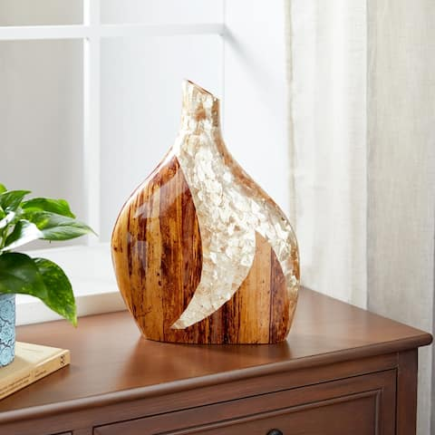 Studio 350 Large Gold Capiz Shell and Natural Banana Wood Vase w/ Canteen Silhouette