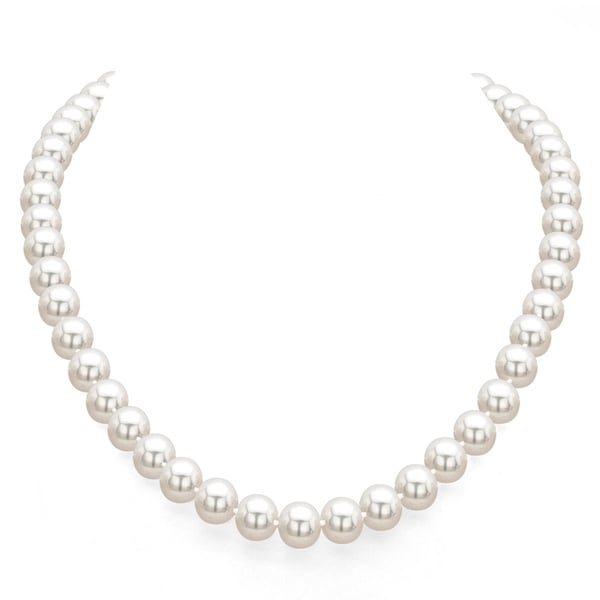 DaVonna 18k Gold 7-7.5mm White Akoya Pearl Necklace with Gift Box