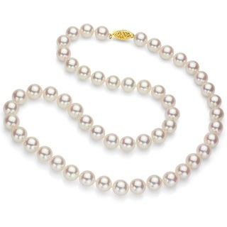DaVonna 18k Gold White Akoya Pearl Necklace with Gift Box (7-7.5 mm)