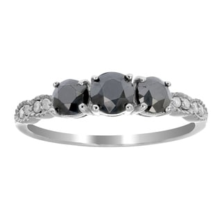 1 Cttw 3 Stone Black Diamond Ring With Milgrain 925 Sterling Silver