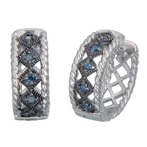 Sterling Silver Blue Diamond Hoop Earrings (1/4 cttw)
