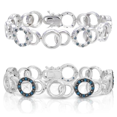 Sterling Silver Blue Diamond Bracelet (1 CT)