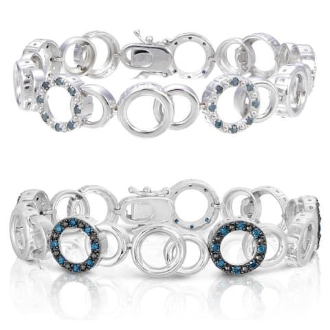 1 cttw Blue Diamond Bracelet .925 Sterling Silver