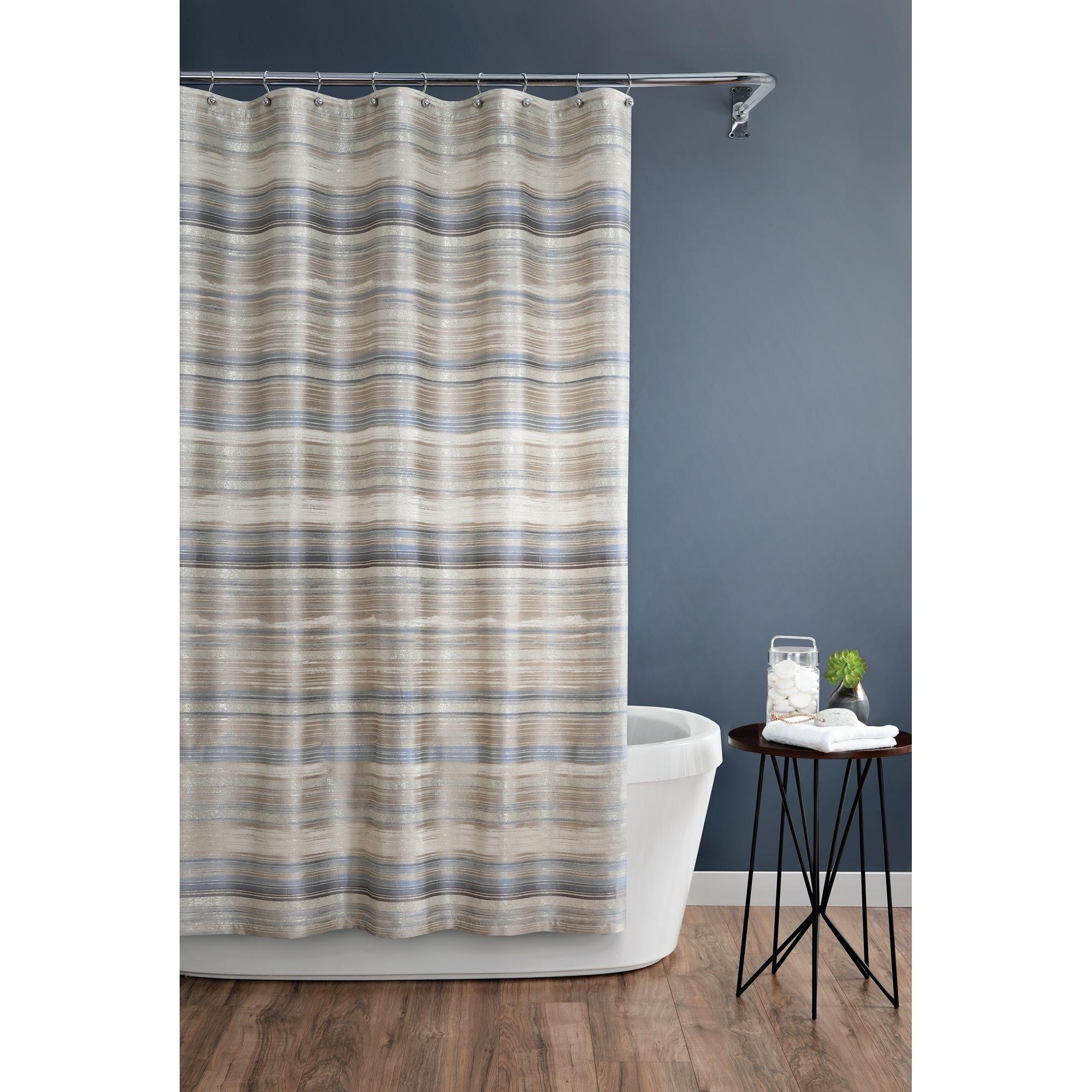 Croscill Darian Metallic And Blue Neutral Striped Shower Curtain