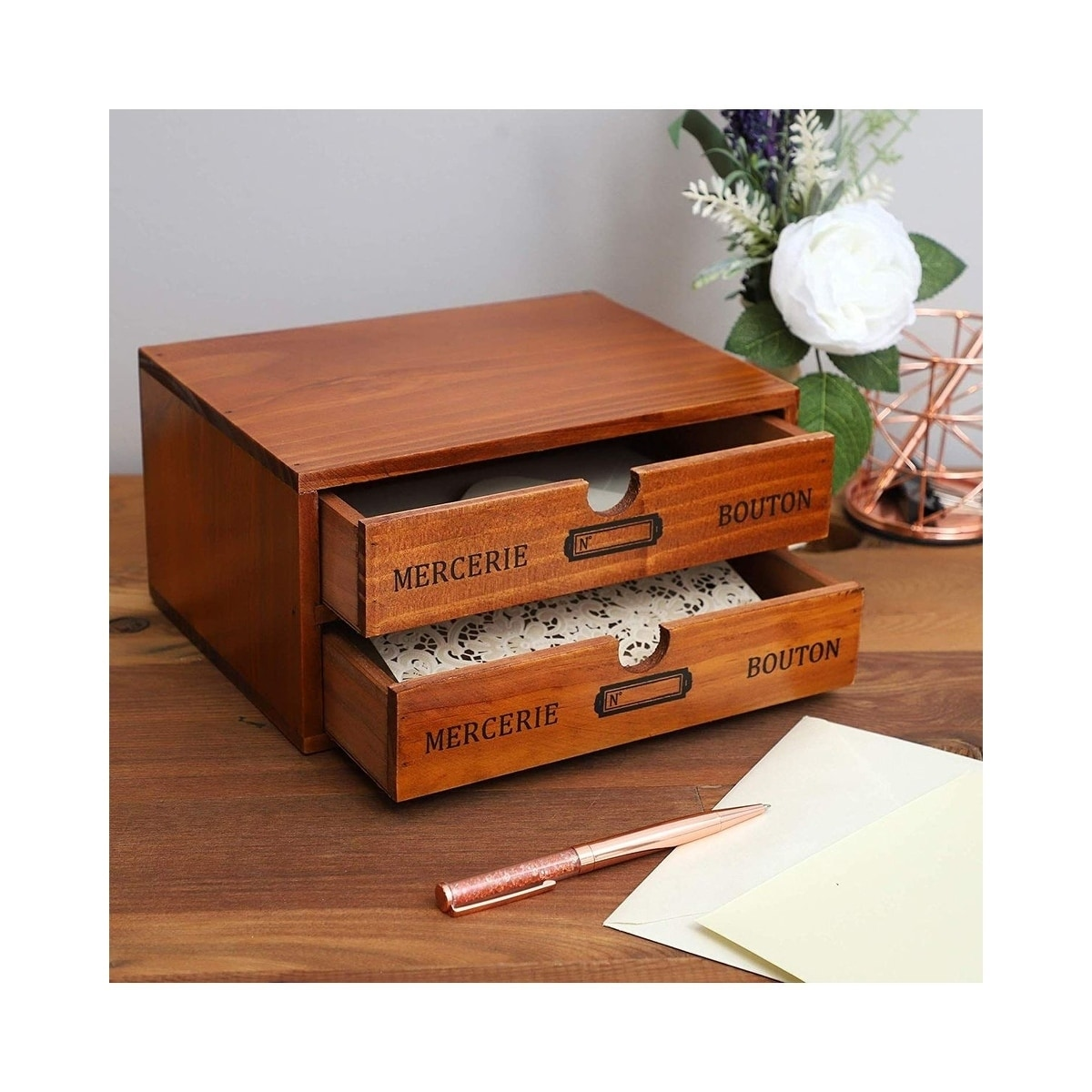 Small Wood Desktop Organizer Storage Box With Drawers French Design 2 Drawers Overstock 29050614