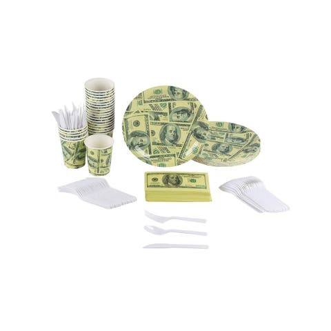 24 Set Party Supplies Disposable Dinnerware, Paper Plates Cups Napkins $100 Bill