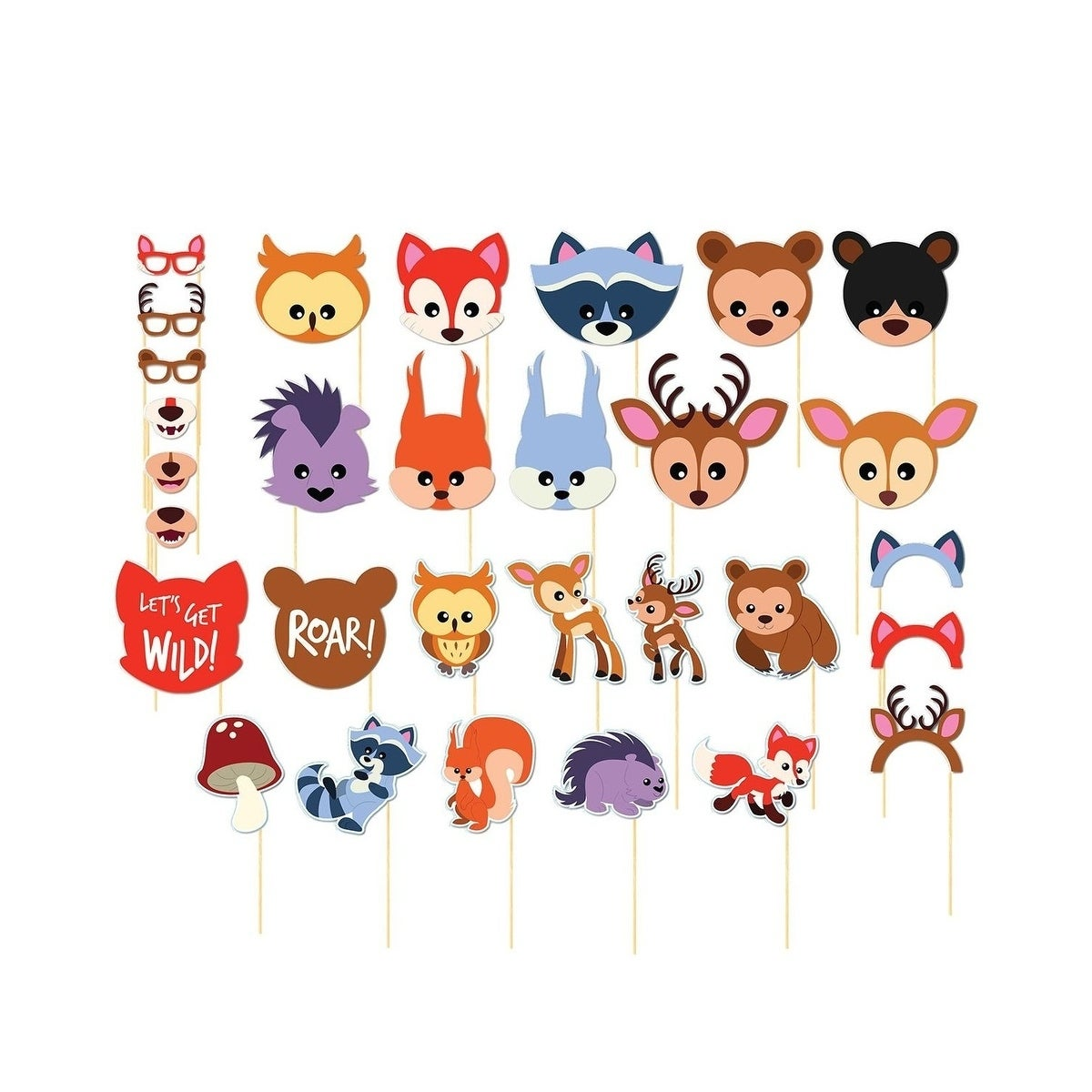 30-Pack Pre-Assembled Woodland Animal Selfie Photo Booth Props for Kids Birthday thumbnail