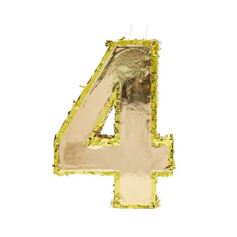 """Small Number 4 Gold Foil Pinata, Fourth Birthday Party Supplies, 15.5 x 11 x 3"""""""