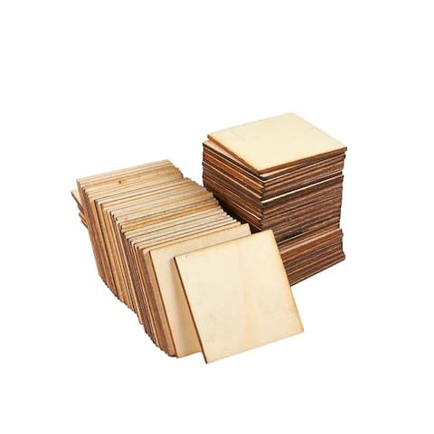 """Unfinished Wood Pieces, 60-Pack Wooden Squares Cutout Tiles for Crafts, 2"""" x 2"""""""