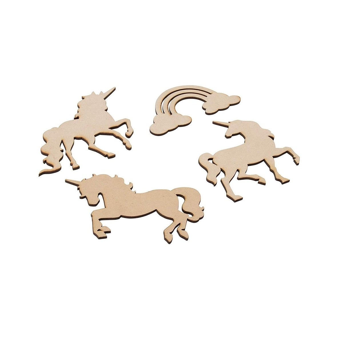24-Pack Wood Cutouts 4 Unfinished Wooden Unicorns and Rainbow Shapes for Crafts
