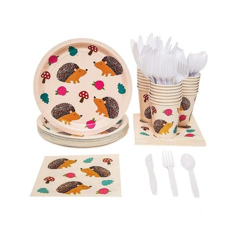 24 Set Party Tableware Supplies Plates Knives Spoons Fork Napkins Cups, Hedgehog