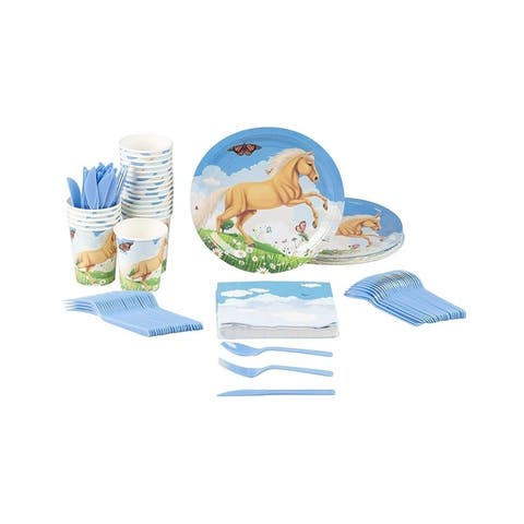 24 Set Party Disposable Dinnerware with Plate Knife Spoon Fork Cup Napkin, Horse
