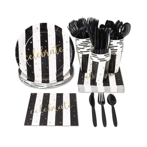 24 Set Party Supplies Dinnerware Knives Spoon Fork Plates Napkin Cups, Celebrate