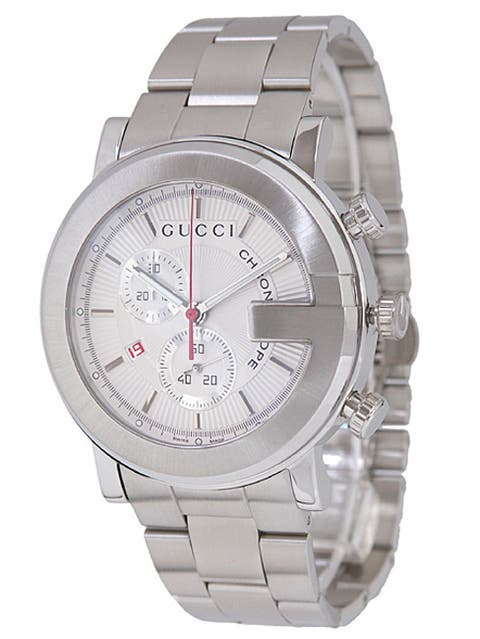 6cc5d12af62 Gucci 101G Men s Silver Dial Steel Chronograph Watch