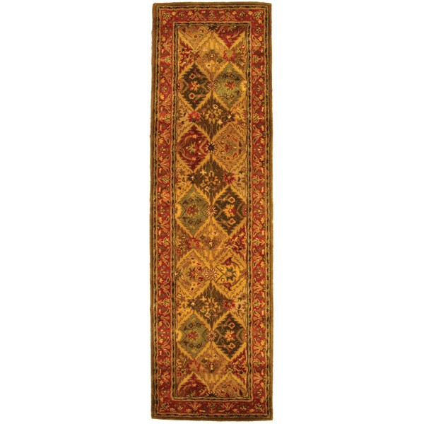 Safavieh Handmade Heritage Traditional Kerman Burgundy Wool Runner (2'3 x 8')