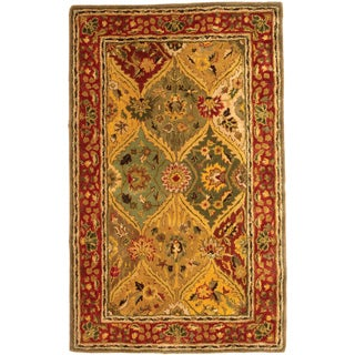 Safavieh Handmade Heritage Traditional Kerman Burgundy Wool Rug - 3' x 5'