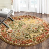 Safavieh Handmade Heritage Traditional Kerman Burgundy Wool Rug (3'6 Round) - 3'6 Round