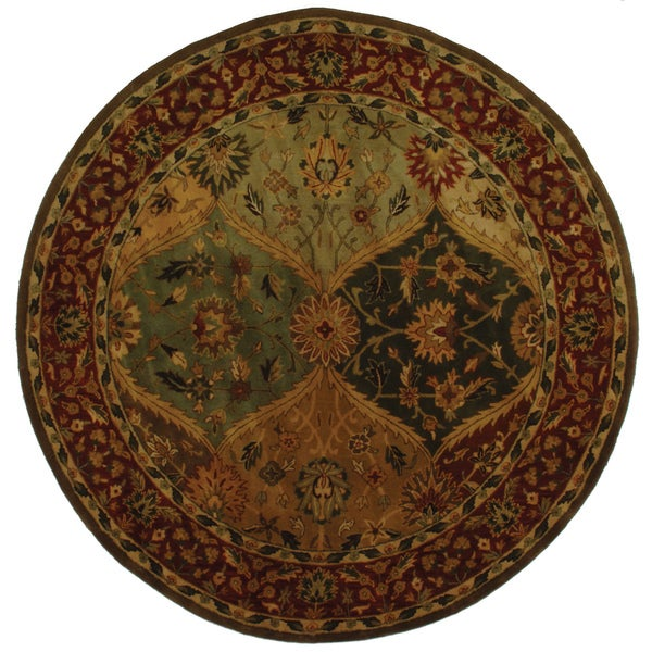 Safavieh Handmade Heritage Traditional Kerman Burgundy Wool Rug (6' Round)