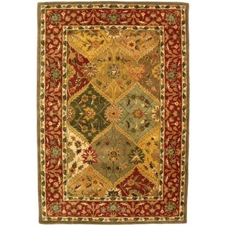 Safavieh Handmade Heritage Traditional Kerman Burgundy Wool Rug (6' x 9')