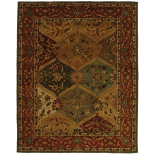 Safavieh Handmade Heritage Traditional Kerman Burgundy Wool Rug (7'6 x 9'6)