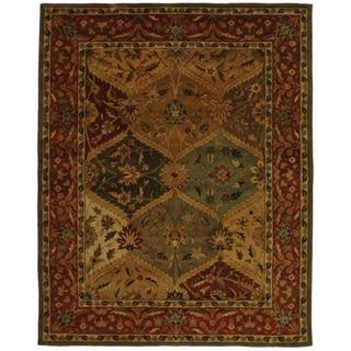 Safavieh Handmade Heritage Traditional Kerman Burgundy Wool Rug (7'6 x 9'6)