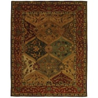 "Safavieh Handmade Heritage Traditional Kerman Burgundy Wool Rug - 9'-6"" X 13'-6"""