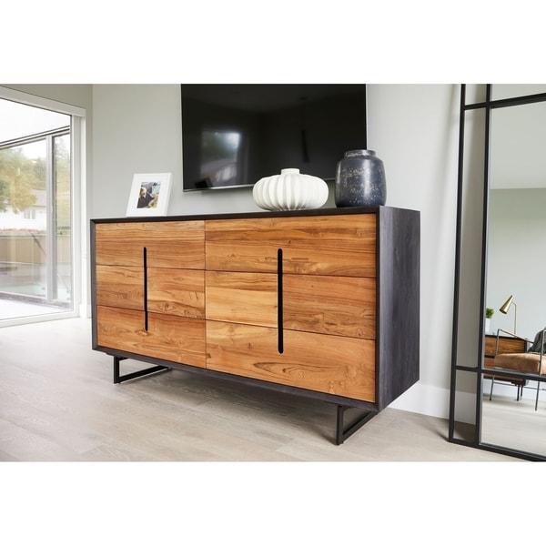 Aurelle Home Light Brown Reclaimed Modern Dresser