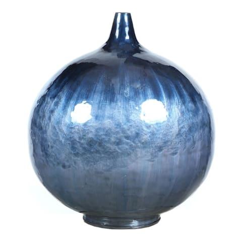 Aurelle Home Blue Brushstoke Glazed Iron Vase