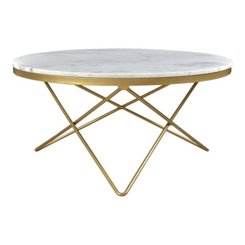 Aurelle Home White Heather Glam Marble Top and Iron Coffee Table