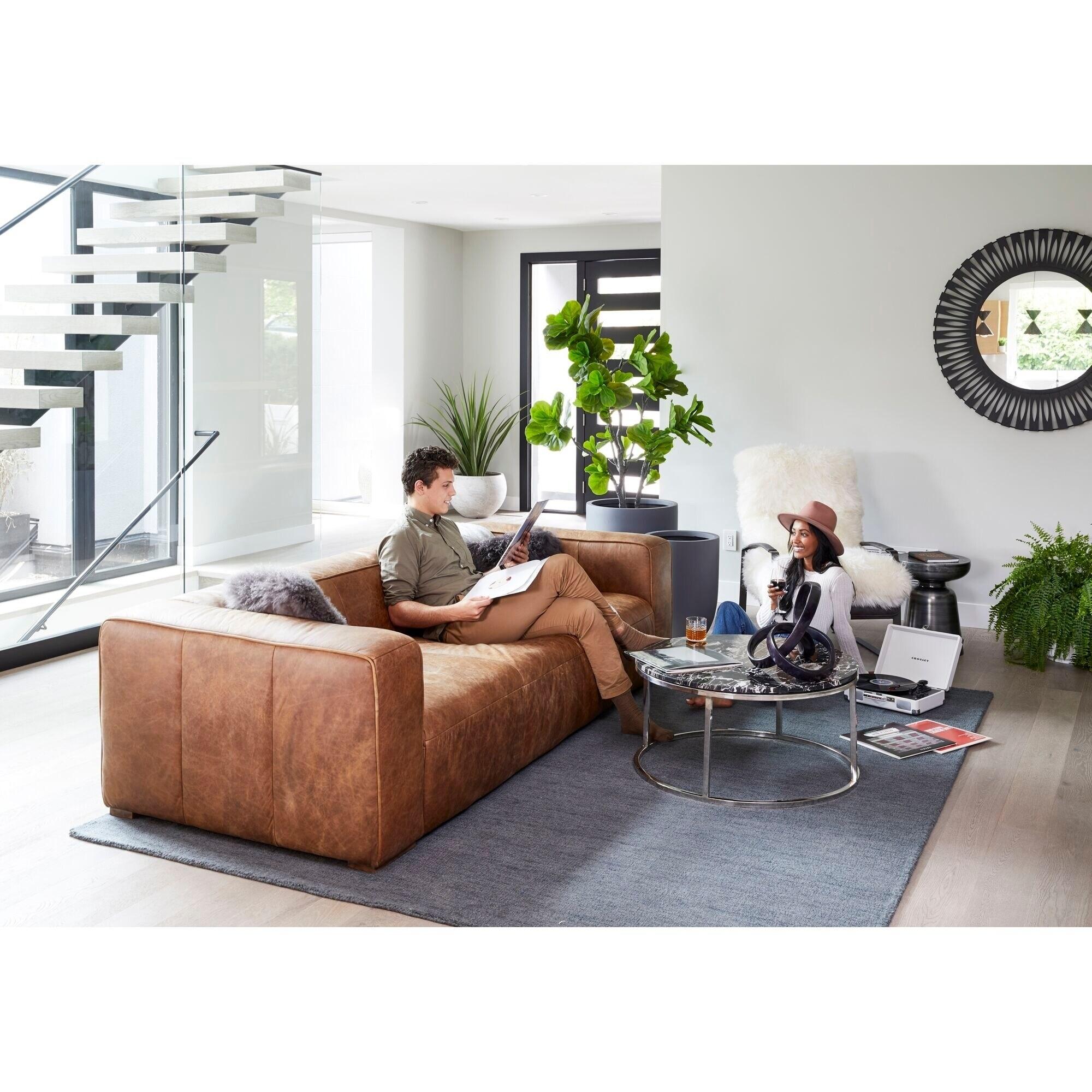 Wide Rustic Top Grain Leather Sofa