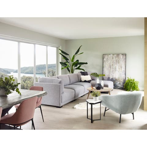 Aurelle Home Ramon Light Grey Modular Sectional Chair