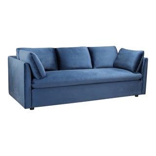 Aurelle Home Blue Velvet Upholstered Modern Sofa