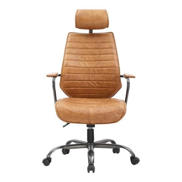 Pleasant Shop Aurelle Home Orange Leather And Iron Modern Office Machost Co Dining Chair Design Ideas Machostcouk