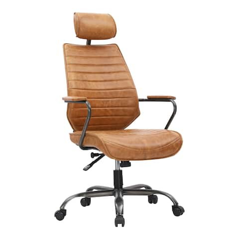 Aurelle Home Orange Leather and Iron Modern Office Chair