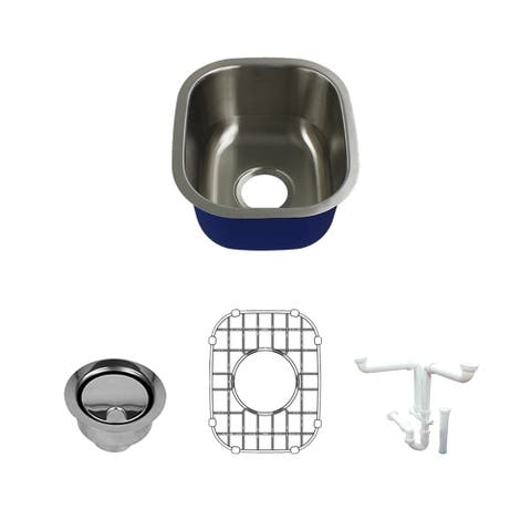 Transolid Meridian Stainless Steel 15-in Undermount Kitchen Sink Kit with With Grid, Strainer, Installation Kit