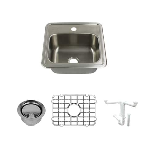 Transolid Select 15-in 20 Gauge Drop-in Single Bowl Kitchen Sink with 1-Hole with Grid, Strainer, Installation Kit