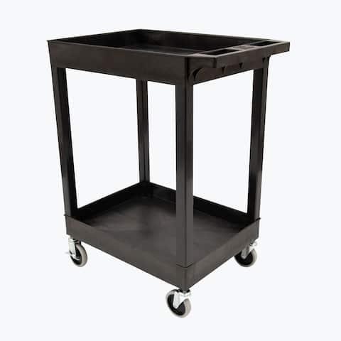 """24"""" x 18"""" Plastic Utility Tub Cart- Two Shelf Black - N/A"""