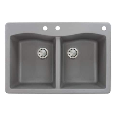 Transolid Aversa 33-in silQ Granite Drop-in Double Bowl Kitchen Sink