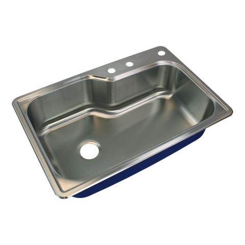 Transolid Meridian 33-in 16 Gauge Offset Super Drop-in Single Bowl Kitchen Sink with MR3 Faucet Holes - 3