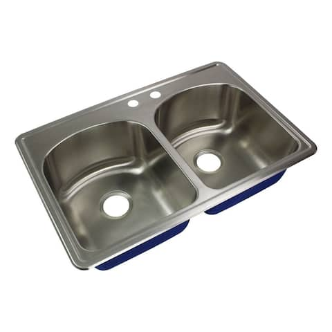 Transolid Meridian 33-in 16 Gauge Drop-in Double Bowl Kitchen Sink with MR2 Faucet Holes - 2