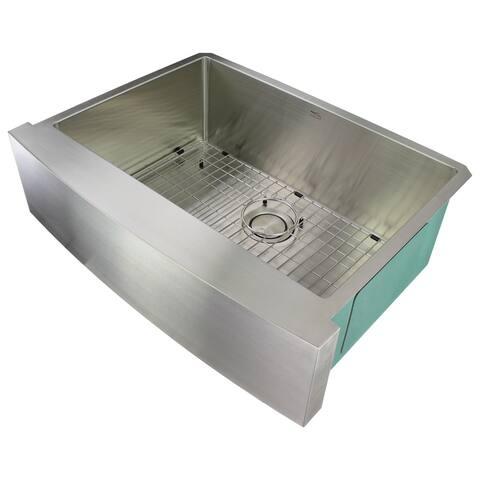 "Transolid Diamond 30-in 16 Gauge Undermount Single Bowl Farmhouse Kitchen Sink - 22"" X 29.5"" X 10"""