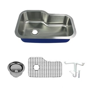 Transolid Meridian Stainless Steel 33-in Undermount Kitchen Sink Kit with Bottom Grids, Flip-Top Strainer, Disposal Strainer