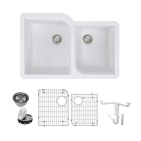 Transolid Radius Granite 31-in Undermount Kitchen Sink Kit with Grids, Strainers and Drain Installation Kit