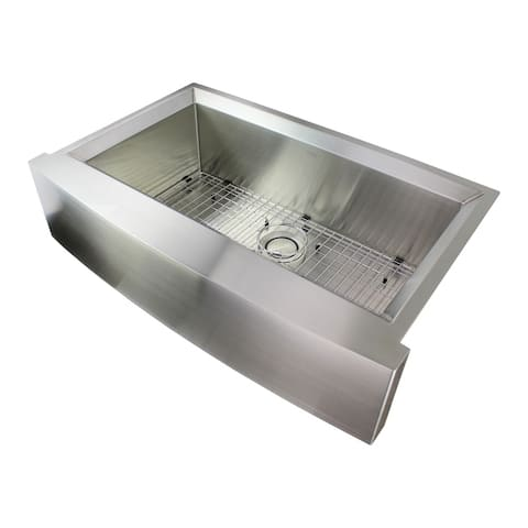 """Transolid Studio 36-in 14 Gauge Undermount Single Bowl Farmhouse Kitchen Sink with SinkPocket - 22"""" X 35.5"""" X 11"""""""