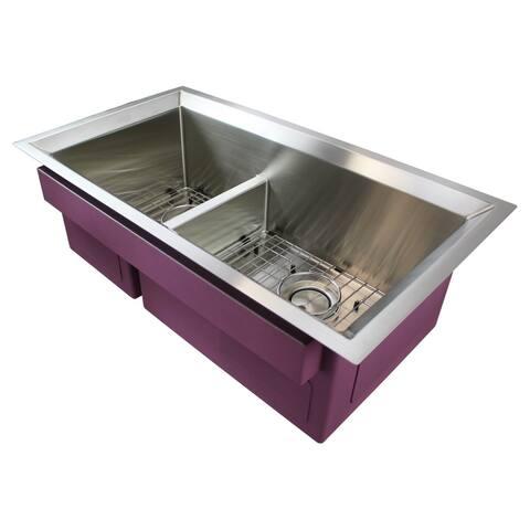 """Transolid Studio Stainless Steel 33-in Undermount Kitchen Sink - 18.5"""" X 33"""" X 11"""""""