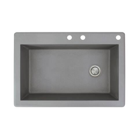 Transolid Radius 33-in silQ Granite Drop-in Single Bowl Kitchen Sink