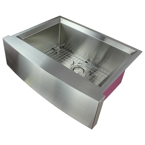 """Transolid Studio 30-in 14 Gauge Undermount Single Bowl Farmhouse Kitchen Sink with SinkPocket - 22"""" X 29.5"""" X 11"""""""