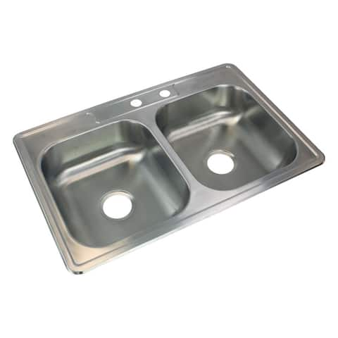 Transolid Select 33-in 22 Gauge Drop-in Double Bowl Kitchen Sink with MR2 Faucet Holes - 2
