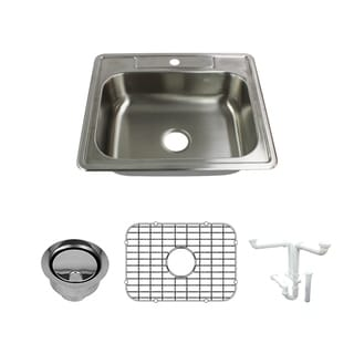 Transolid Select 25-in 20 Gauge Drop-in Single Bowl Kitchen Sink with Grid, Strainer, Installation Kit